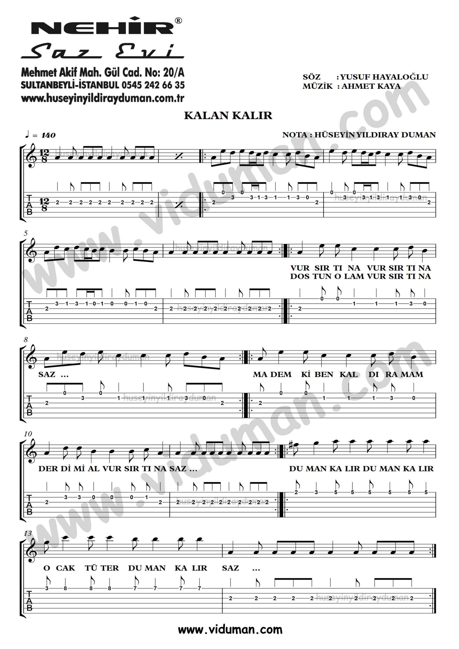 Kalan Kalir_1-Ahmet Kaya-Gitar Tab-Solo Notalari