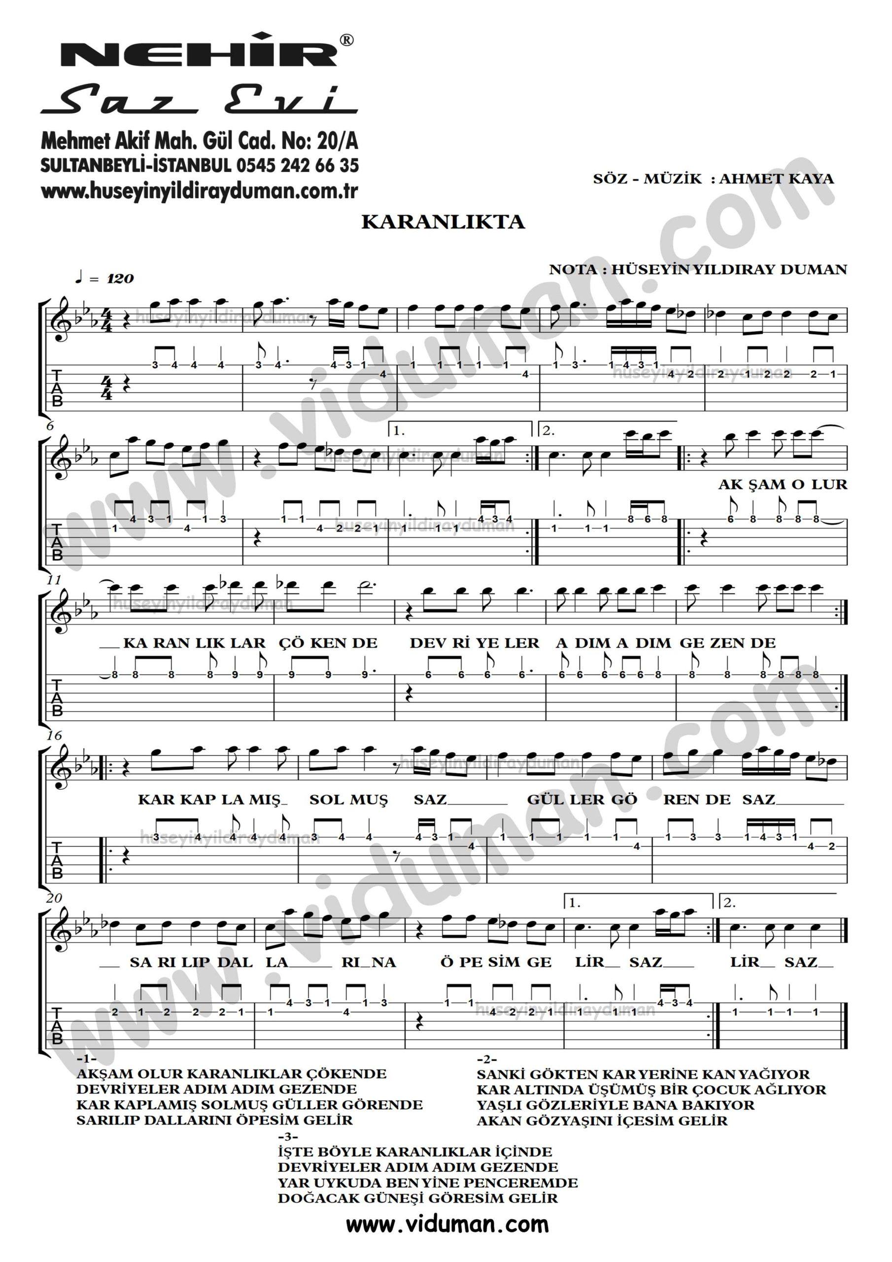 Karanlikta-Ahmet Kaya-Gitar Tab-Solo Notalari