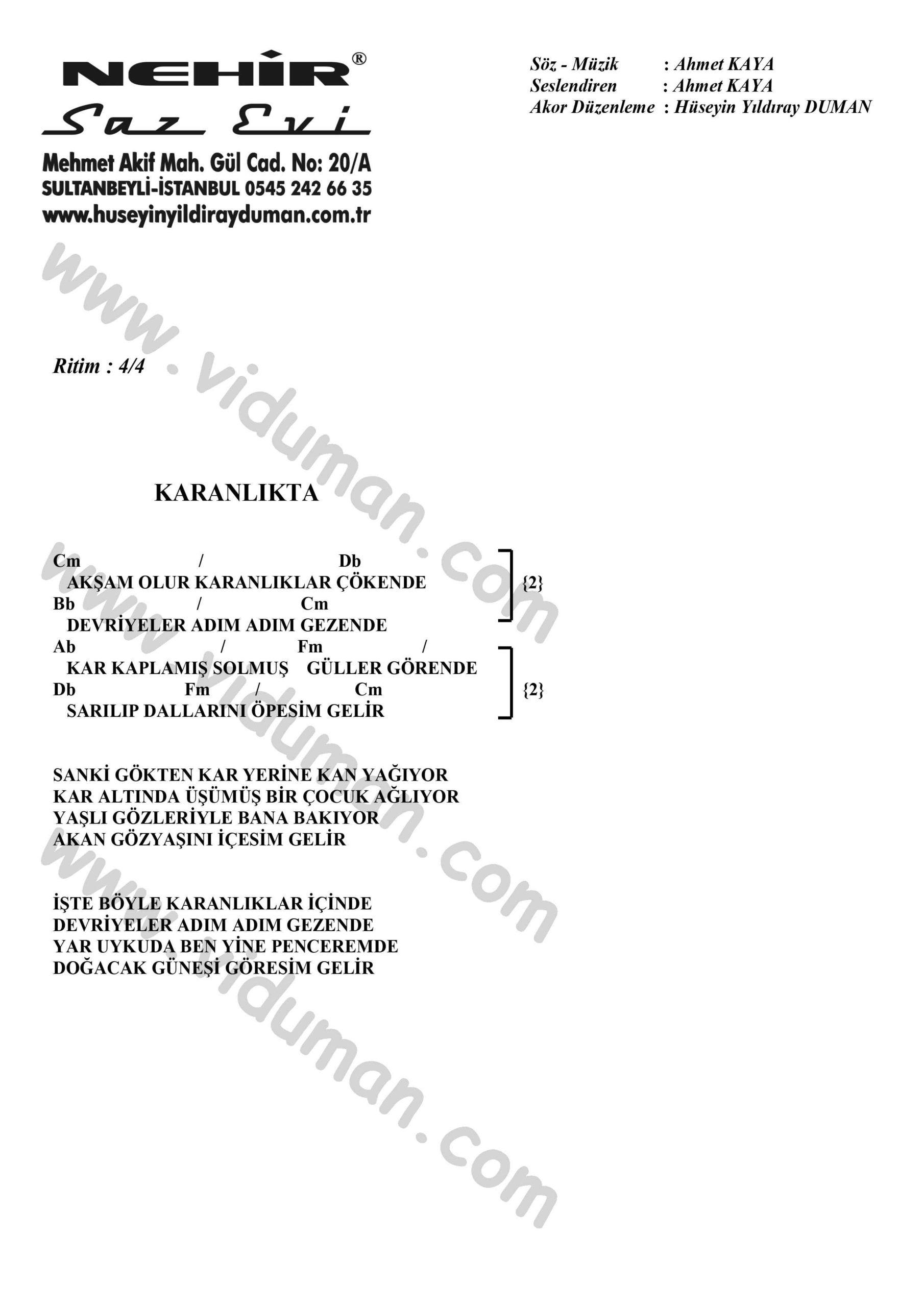 Karanlikta-Ahmet Kaya-Ritim-Gitar-Akorlari