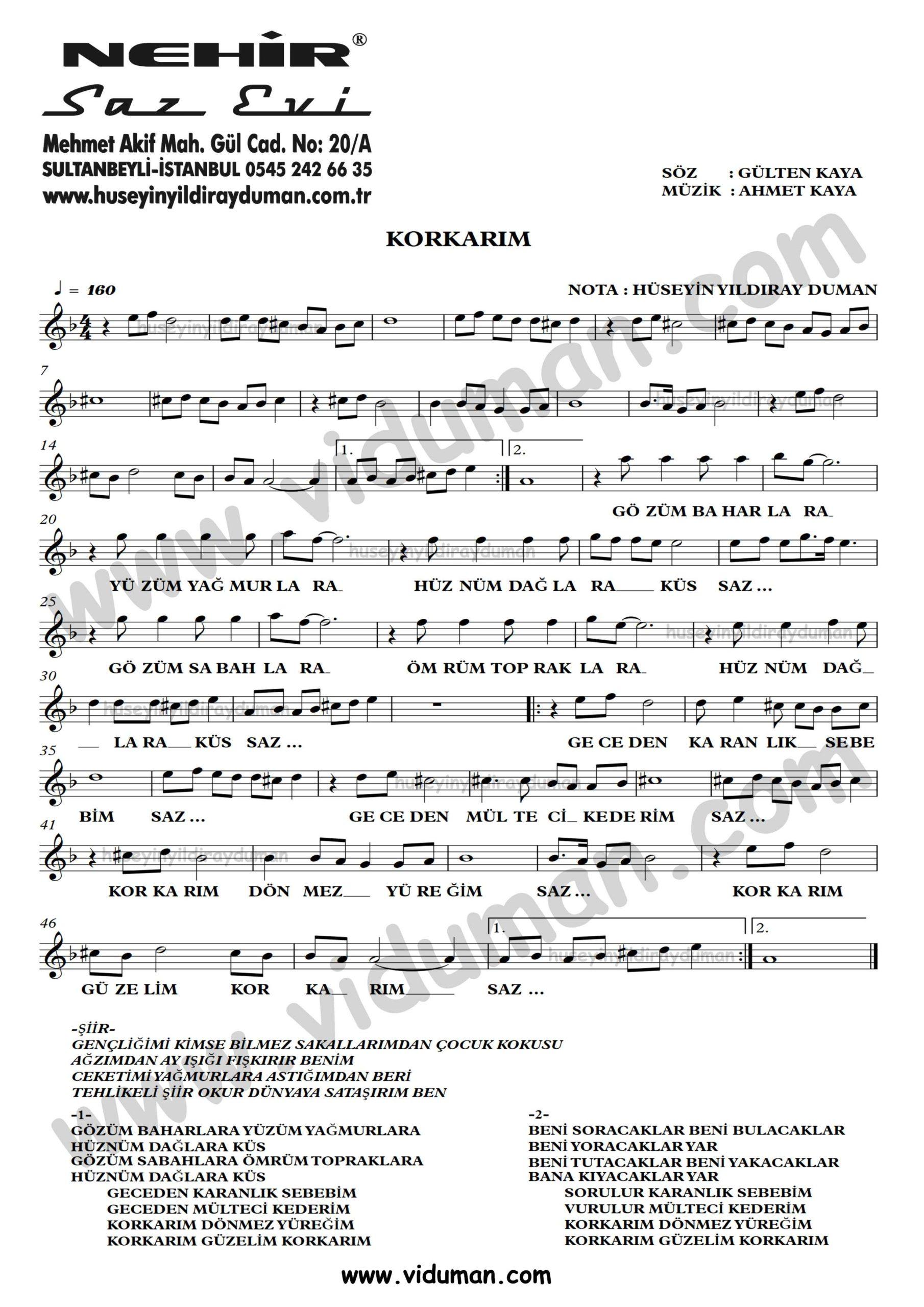 Korkarim-Ahmet Kaya-Baglama-Saz-Turku-Notalari