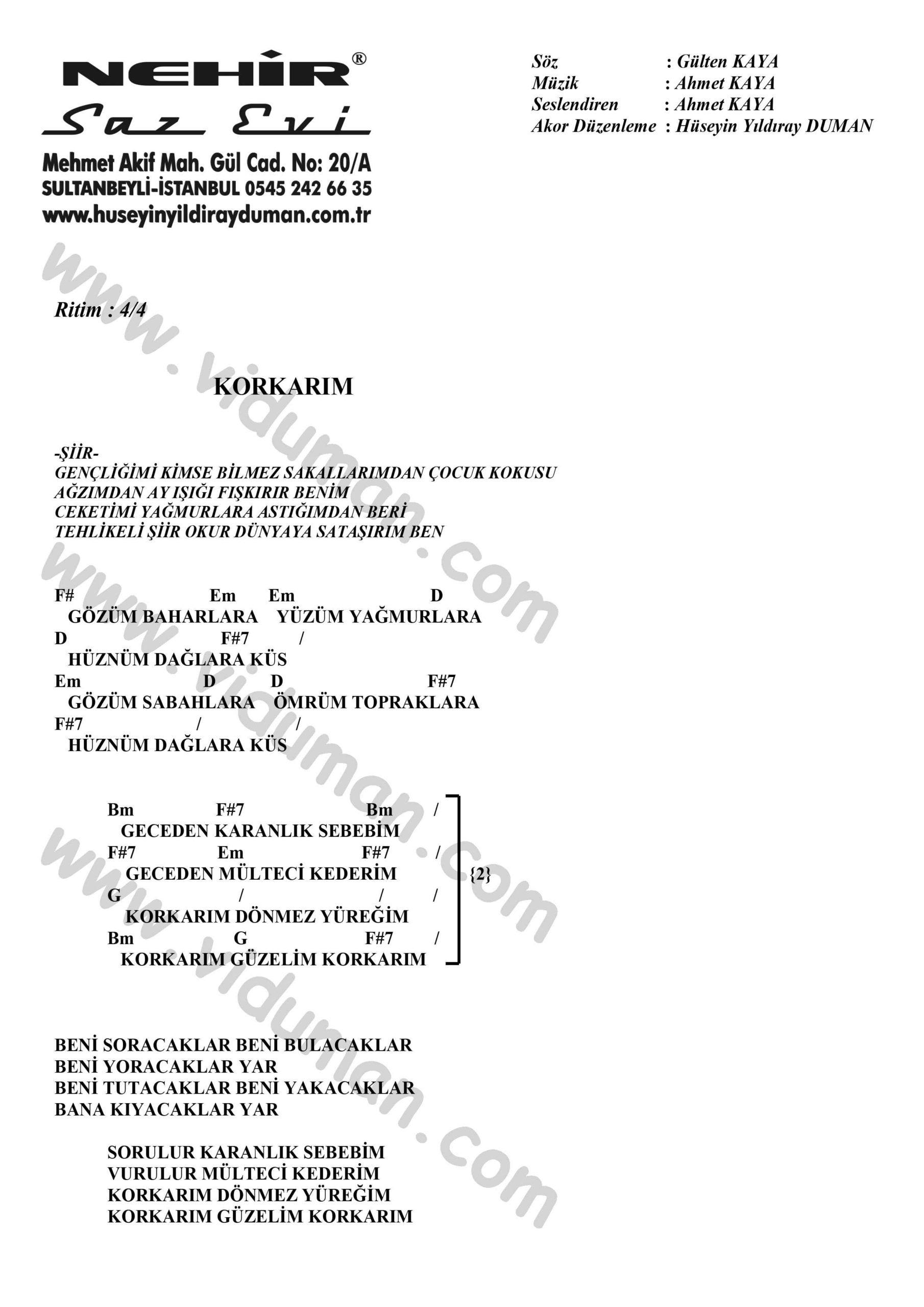 Korkarim-Ahmet Kaya-Ritim-Gitar-Akorlari