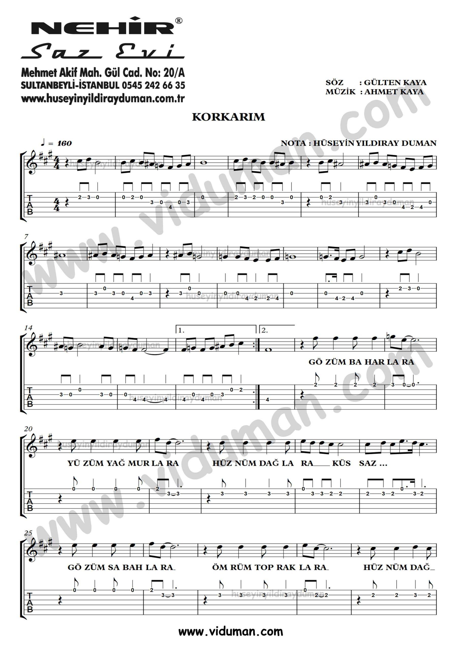 Korkarim_1-Ahmet Kaya-Gitar Tab-Solo Notalari
