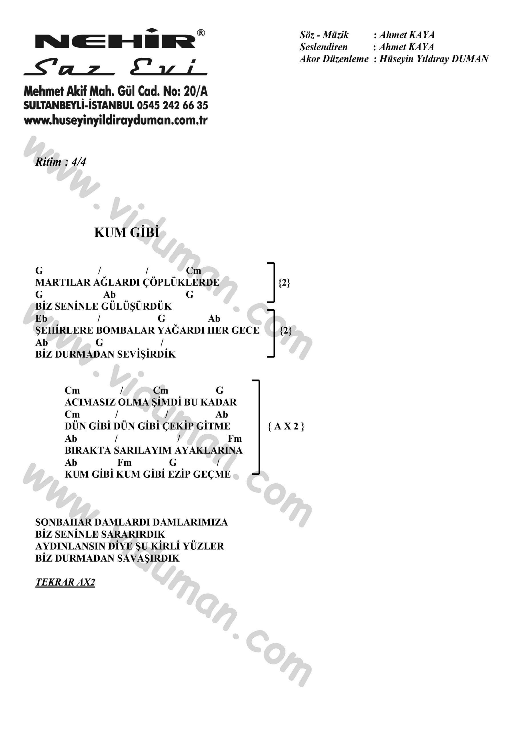 Kum Gibi-Ahmet Kaya-Ritim-Gitar-Akorlari