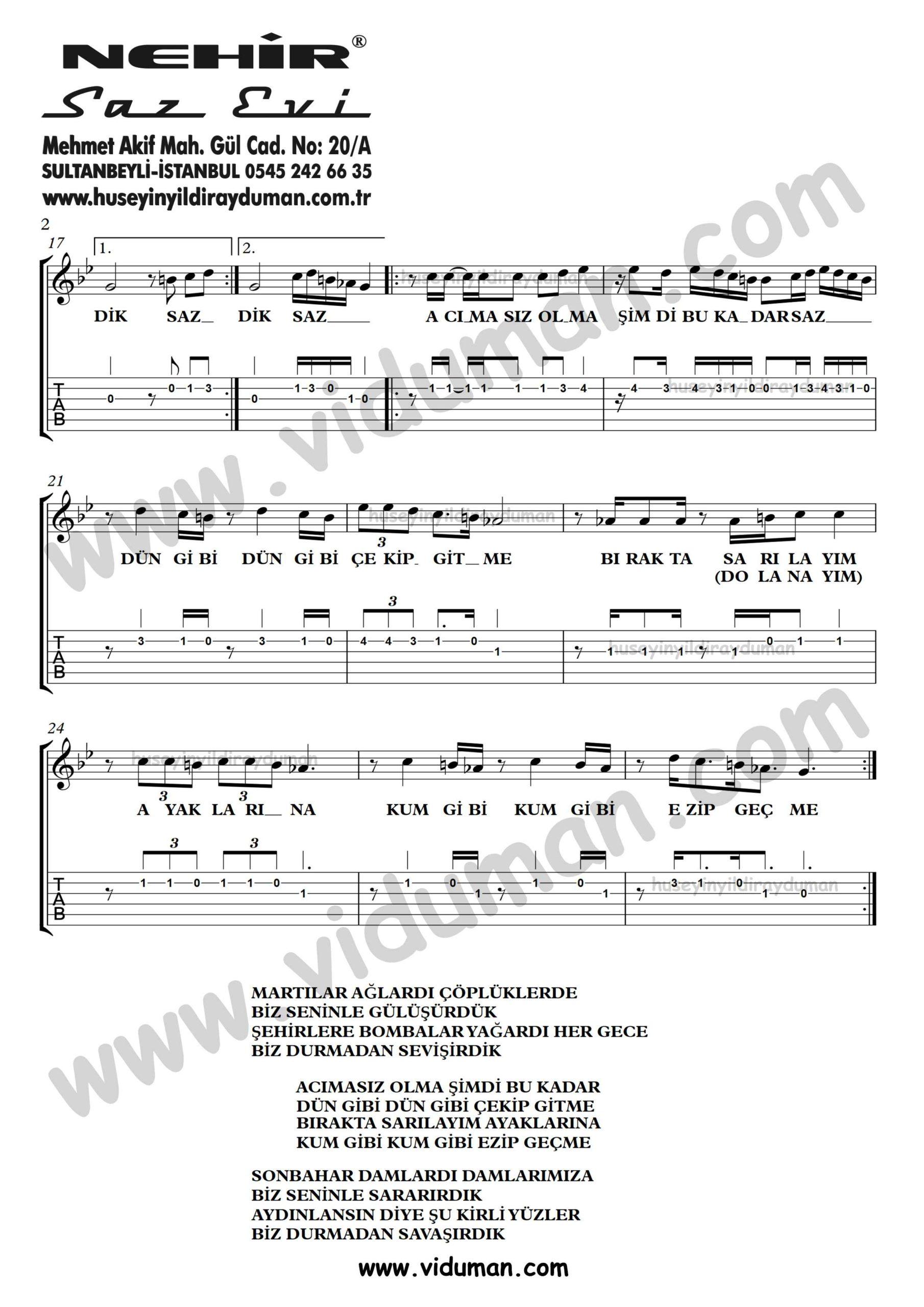 Kum Gibi_2-Ahmet Kaya-Gitar Tab-Solo Notalari