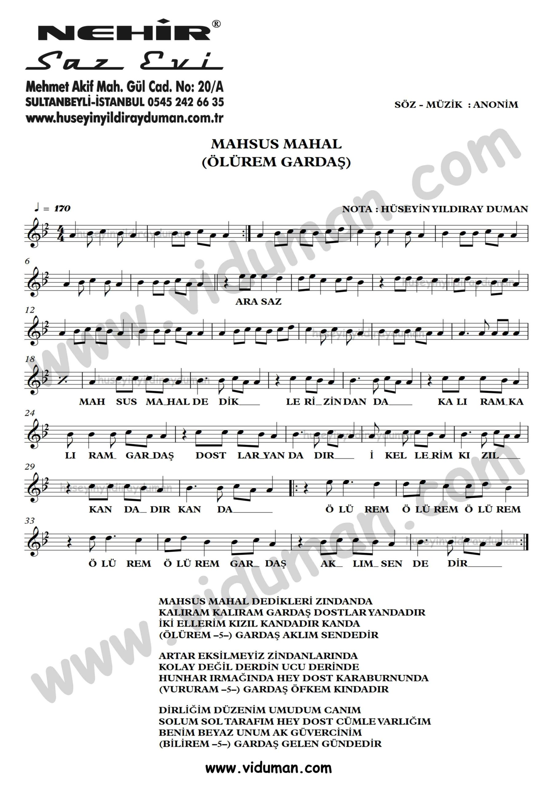 Mahsus Mahal (Olurem Gardas)-Ahmet Kaya-Baglama-Saz-Turku-Notalari