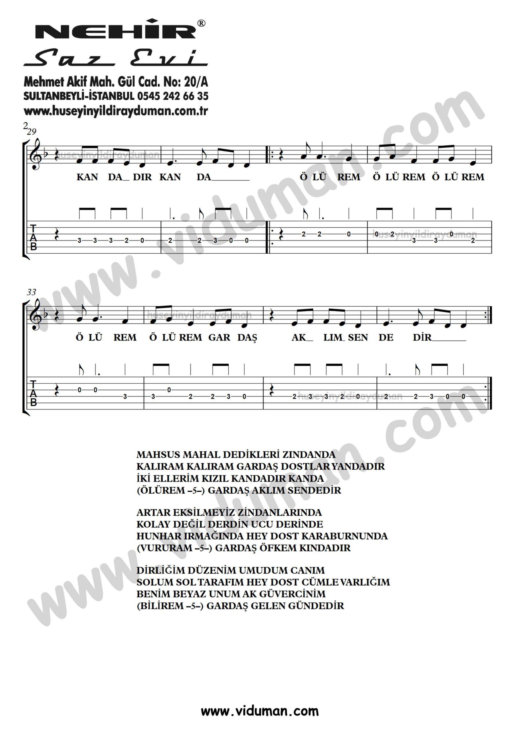 Mahsus Mahal (Olurem Gardas)_2-Ahmet Kaya-Gitar Tab-Solo Notalari