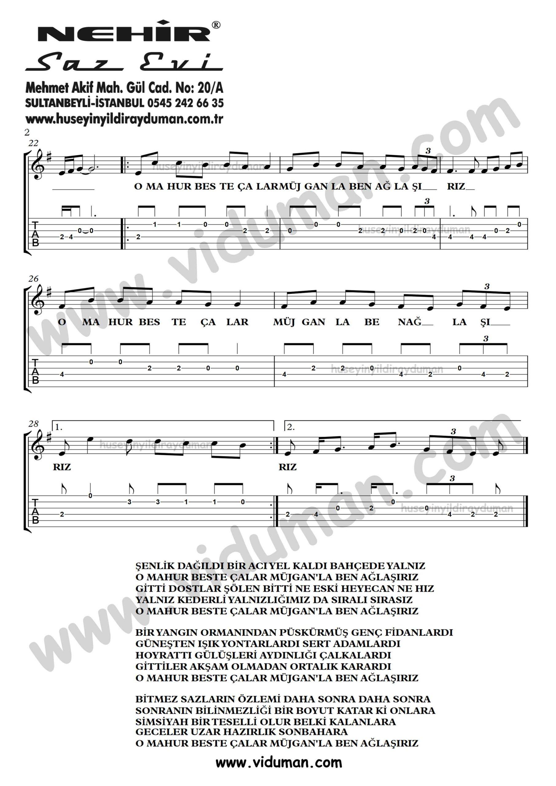 Mahur Beste_2-Ahmet Kaya-Gitar Tab-Solo Notalari