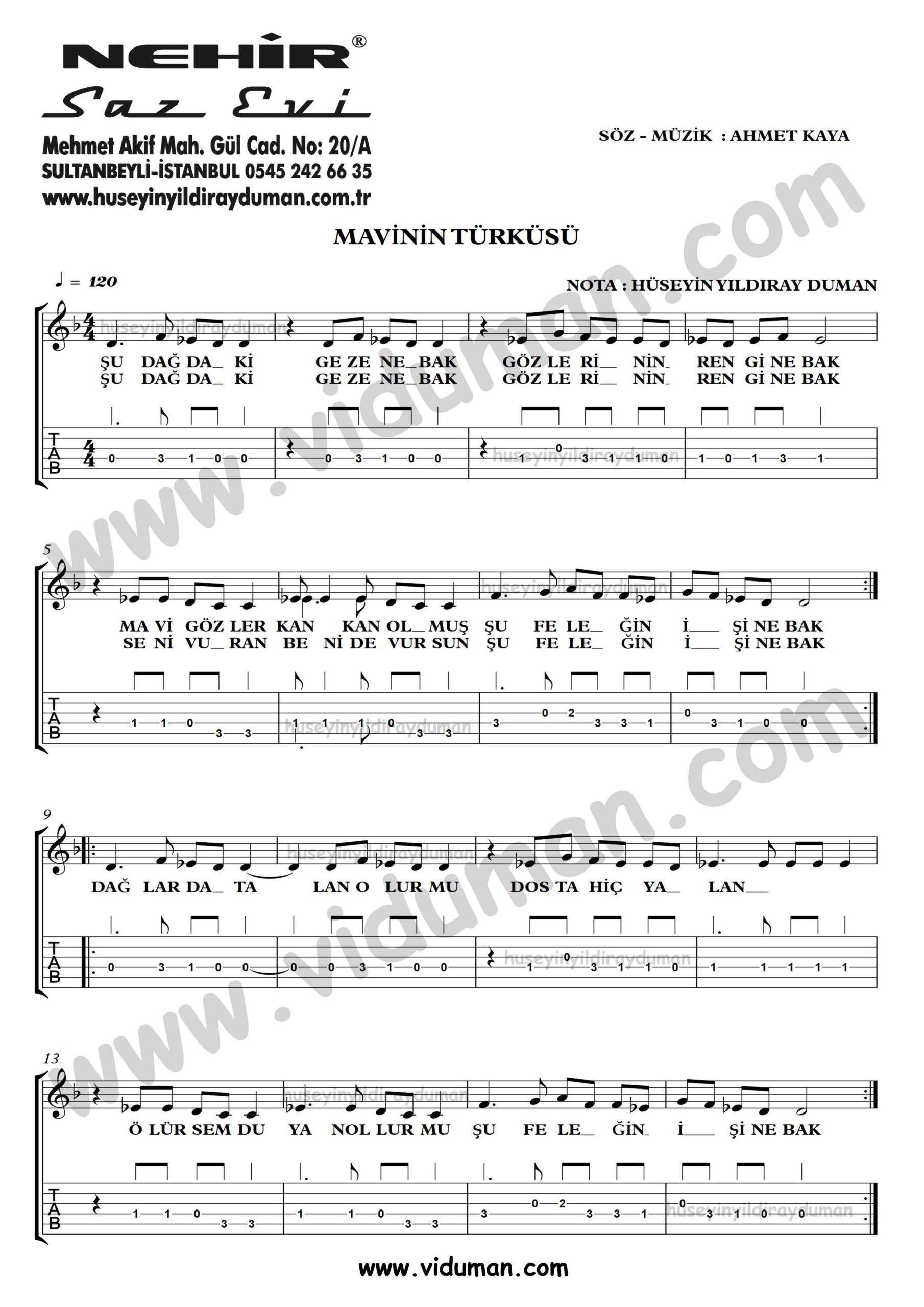 Mavinin Turkusu-Ahmet Kaya-Gitar Tab-Solo Notalari