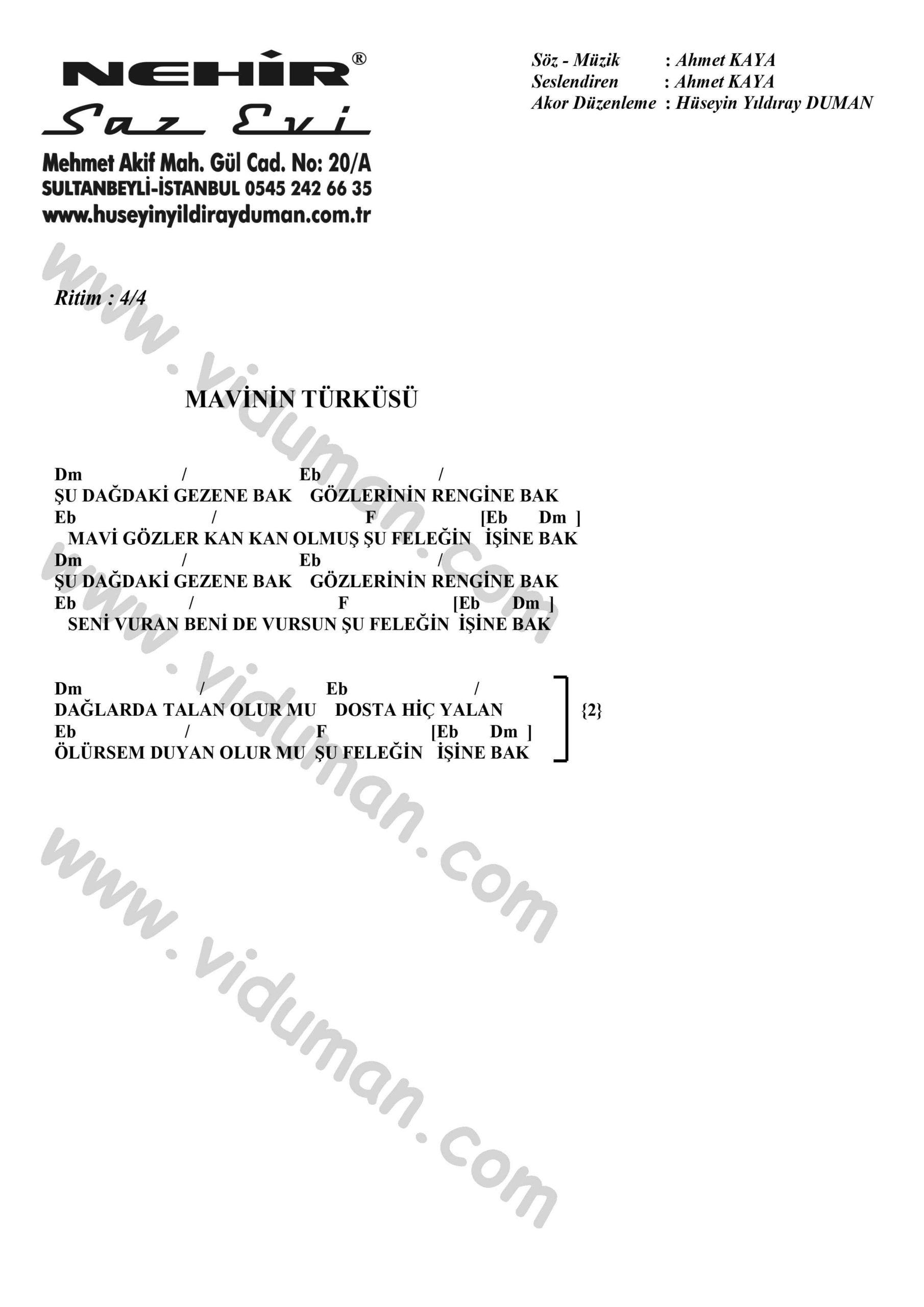 Mavinin Turkusu-Ahmet Kaya-Ritim-Gitar-Akorlari