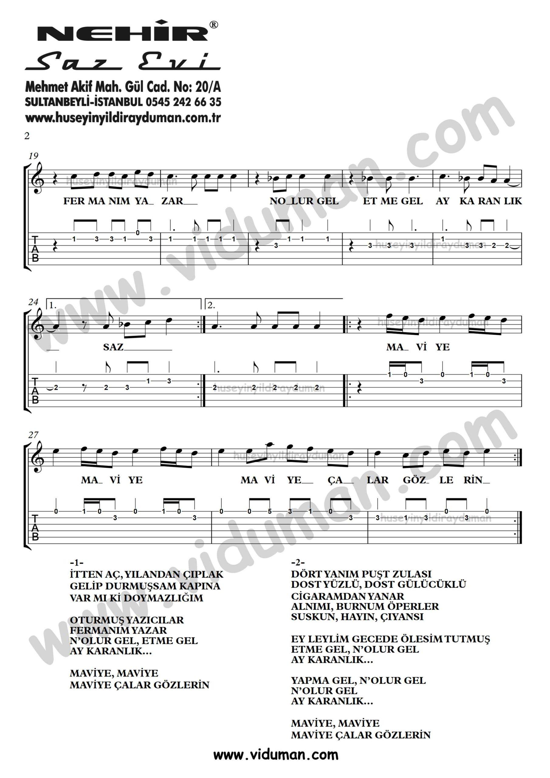 Maviye Calar Gozlerin_2-Ahmet Kaya-Gitar Tab-Solo Notalari