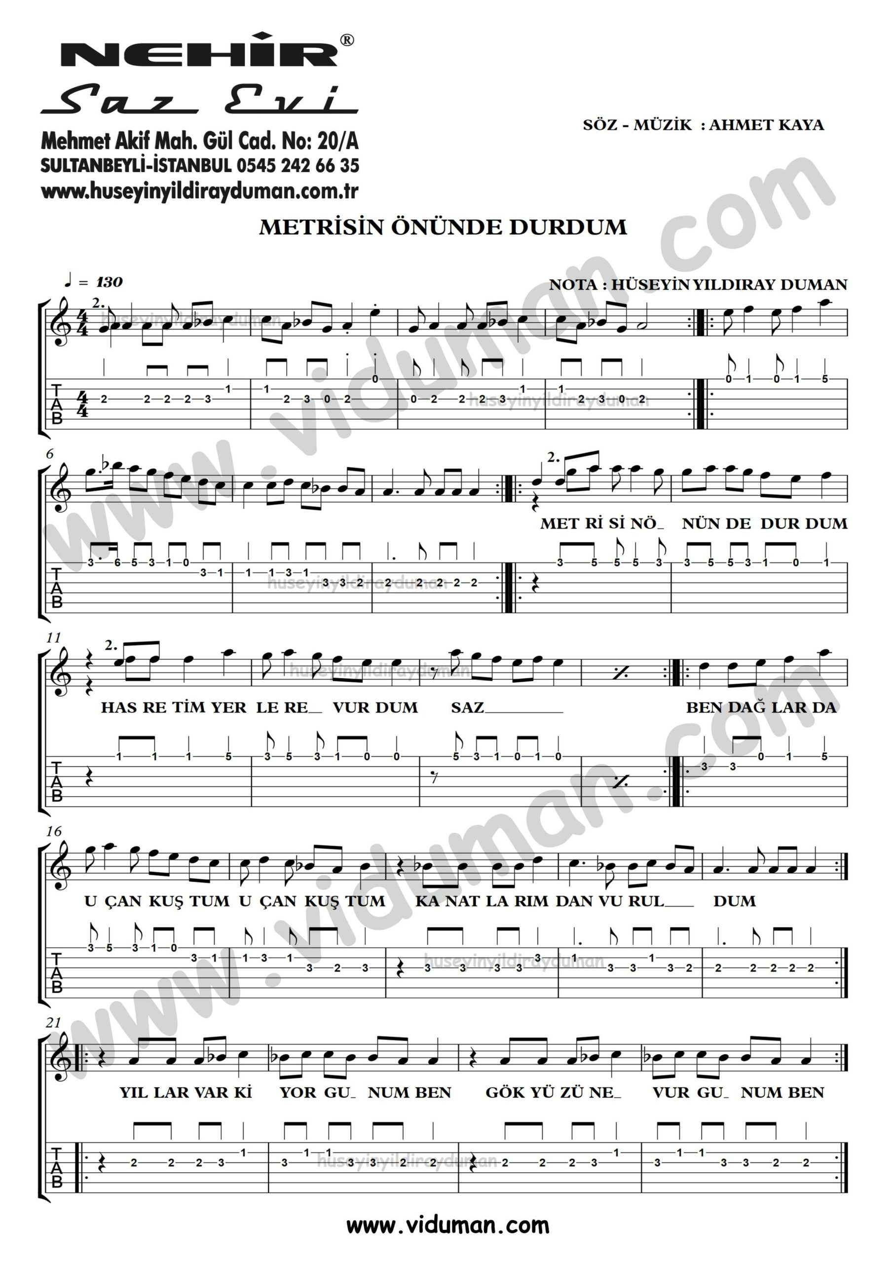 Metrisin Onunde Durdum_1-Ahmet Kaya-Gitar Tab-Solo Notalari
