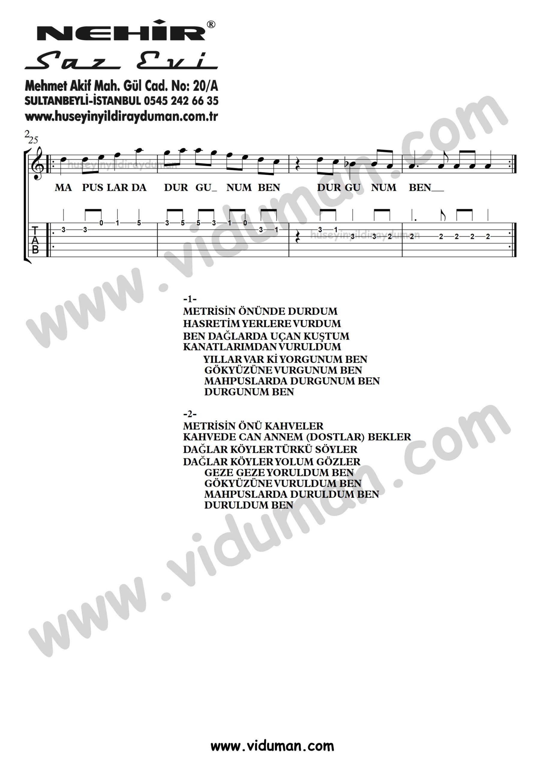 Metrisin Onunde Durdum_2-Ahmet Kaya-Gitar Tab-Solo Notalari