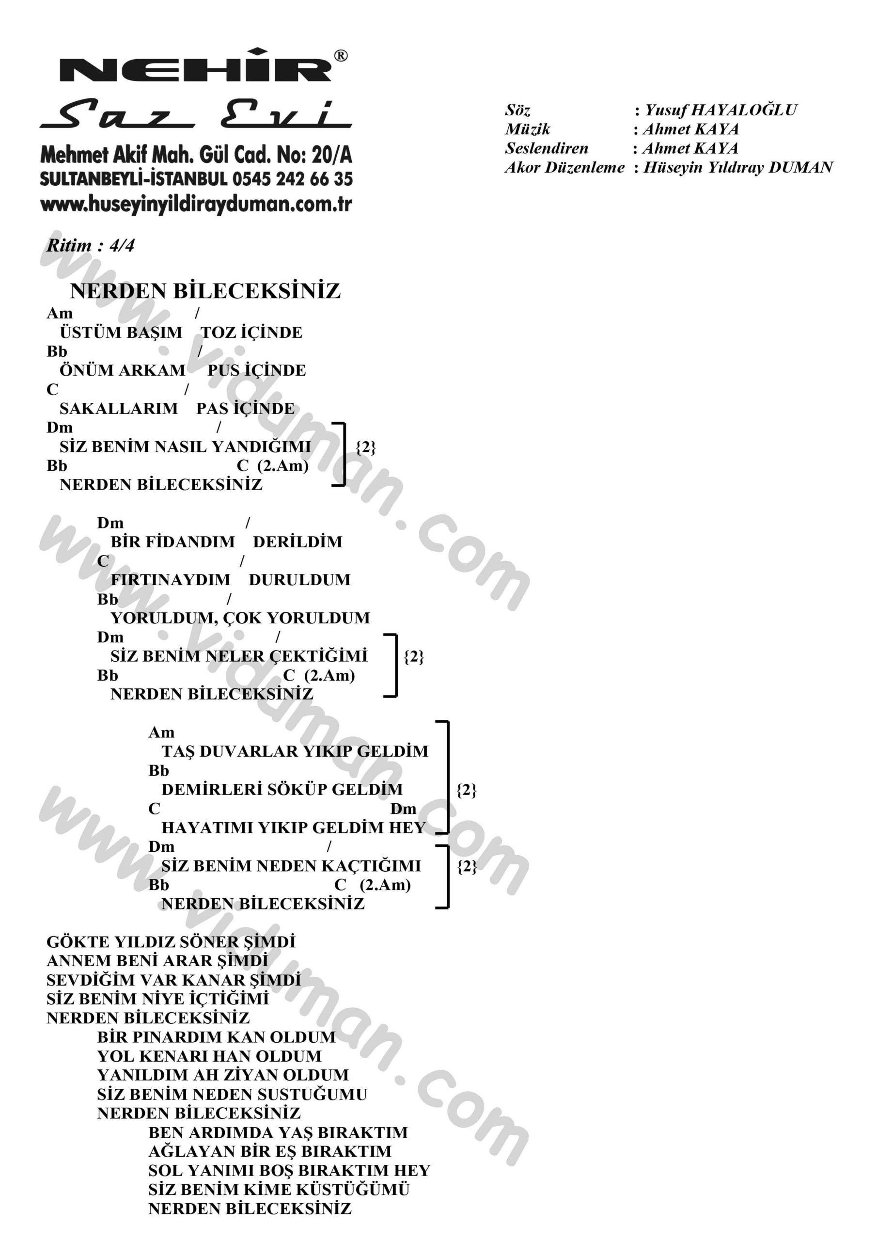 Nerden Bileceksiniz-Ahmet Kaya-Ritim-Gitar-Akorlari