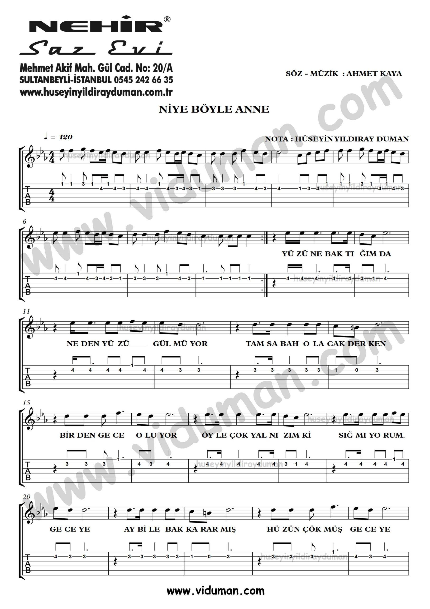 Niye Boyle Anne_1-Ahmet Kaya-Gitar Tab-Solo Notalari