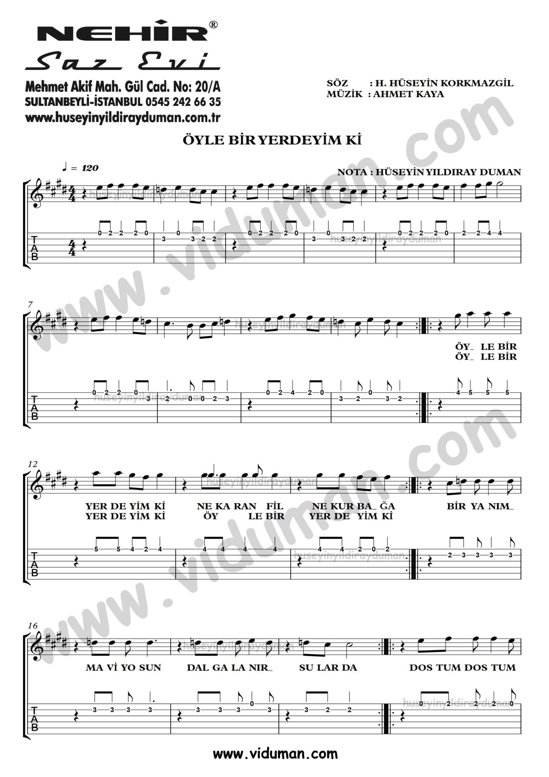 Oyle Bir Yerdeyim Ki_1-Ahmet Kaya-Gitar Tab-Solo Notalari