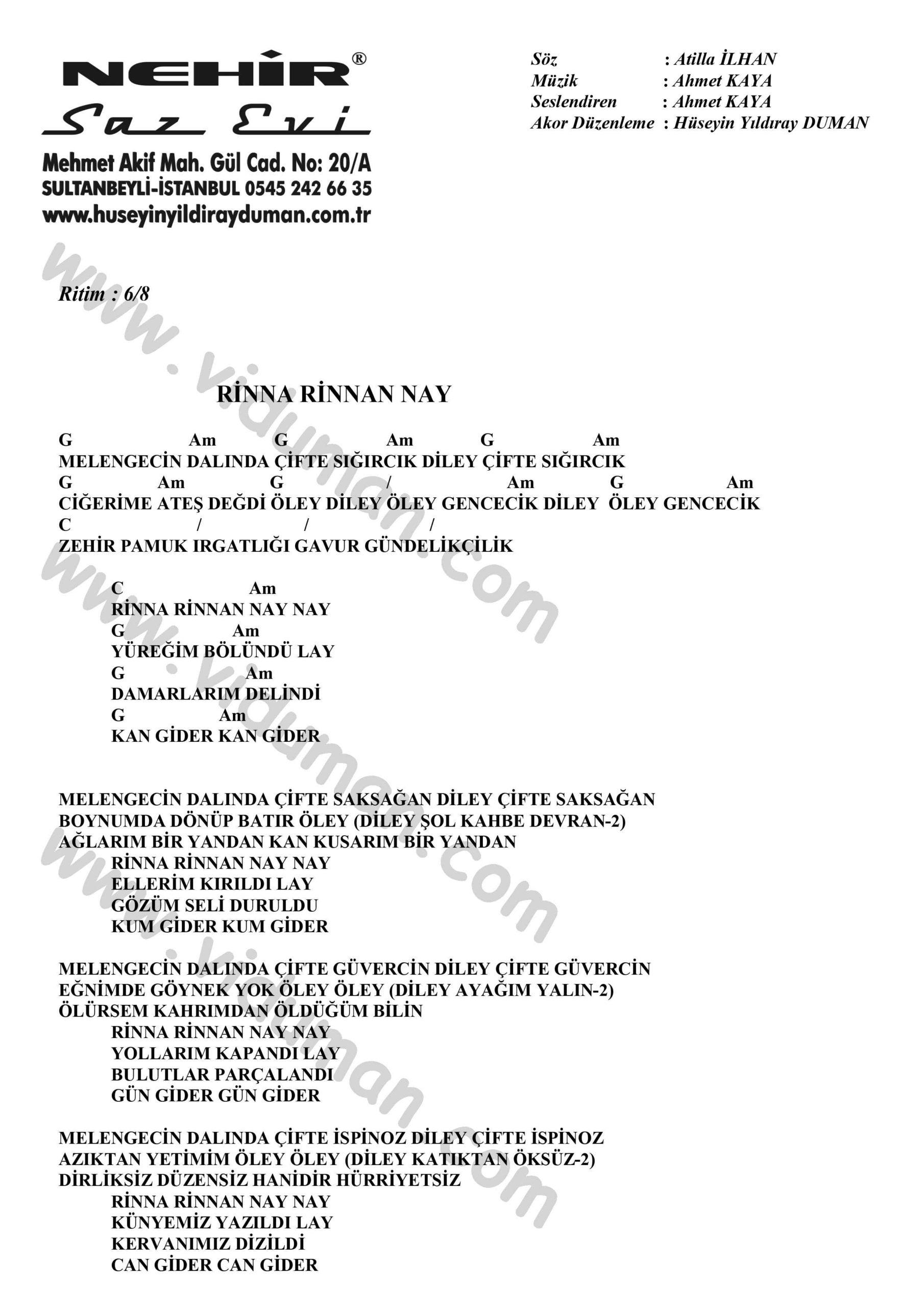 Rinna Rinnan Nay-Ahmet Kaya-Ritim-Gitar-Akorlari