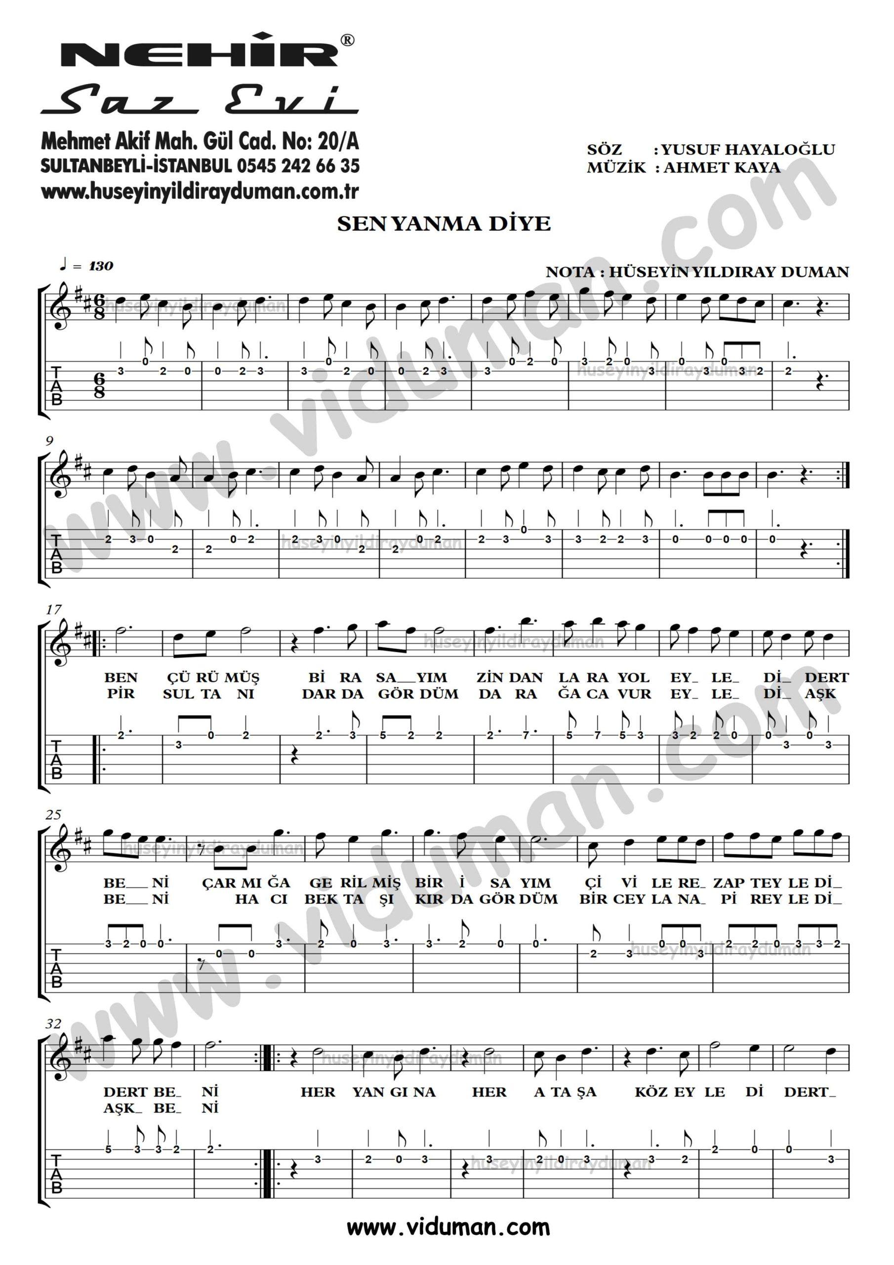 Sen Yanma Diye_1-Ahmet Kaya-Gitar Tab-Solo Notalari