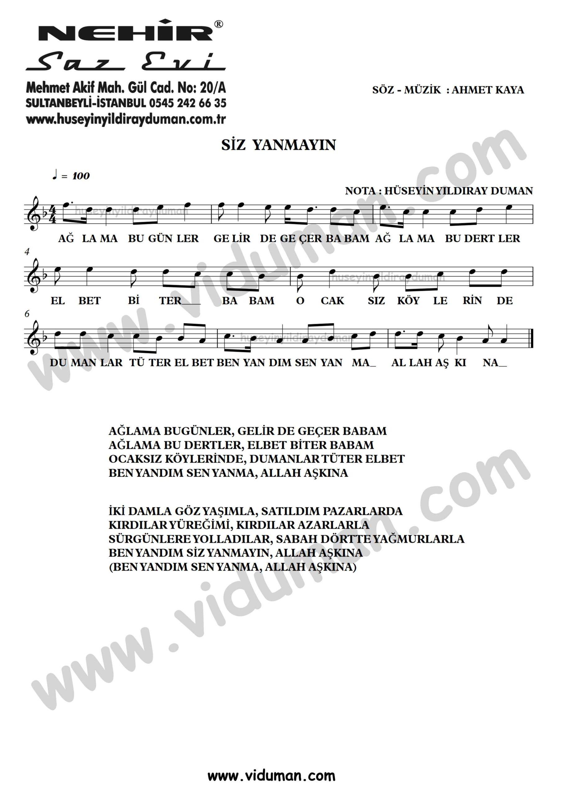 Siz Yanmayin-Ahmet Kaya-Baglama-Saz-Turku-Notalari