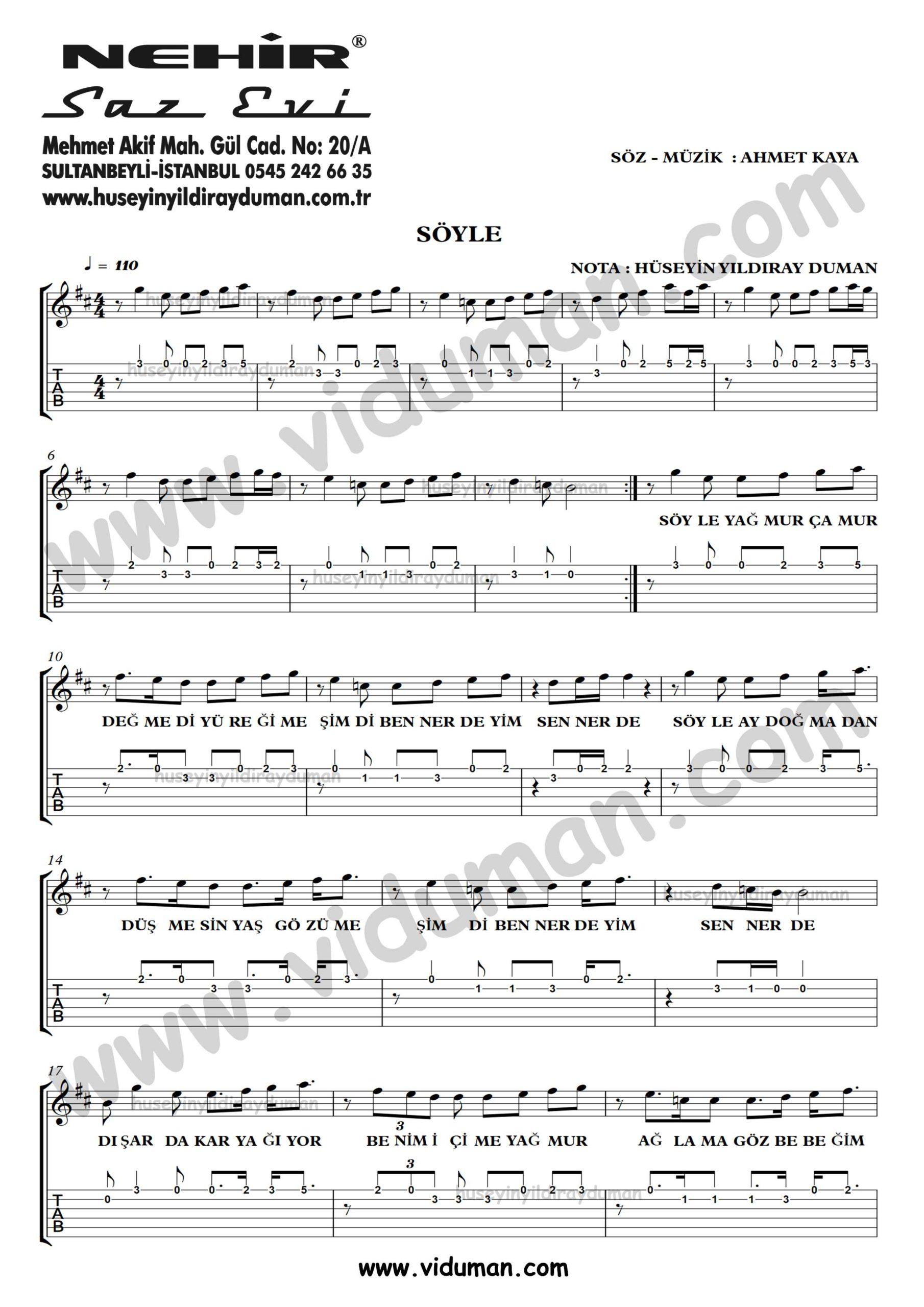 Soyle_1-Ahmet Kaya-Gitar Tab-Solo Notalari