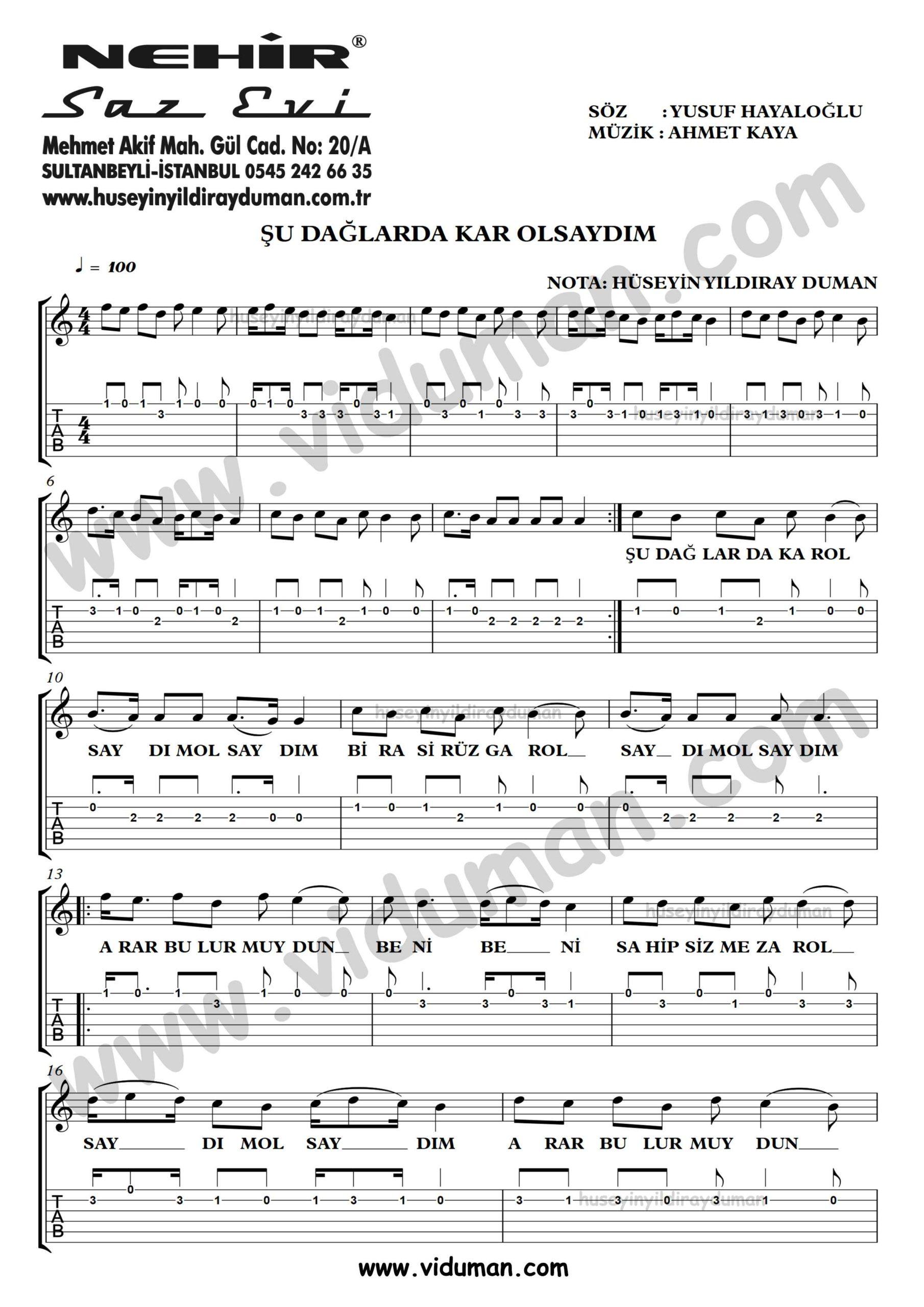 Su Daglarda Kar Olsaydim_1-Ahmet Kaya-Gitar Tab-Solo Notalari