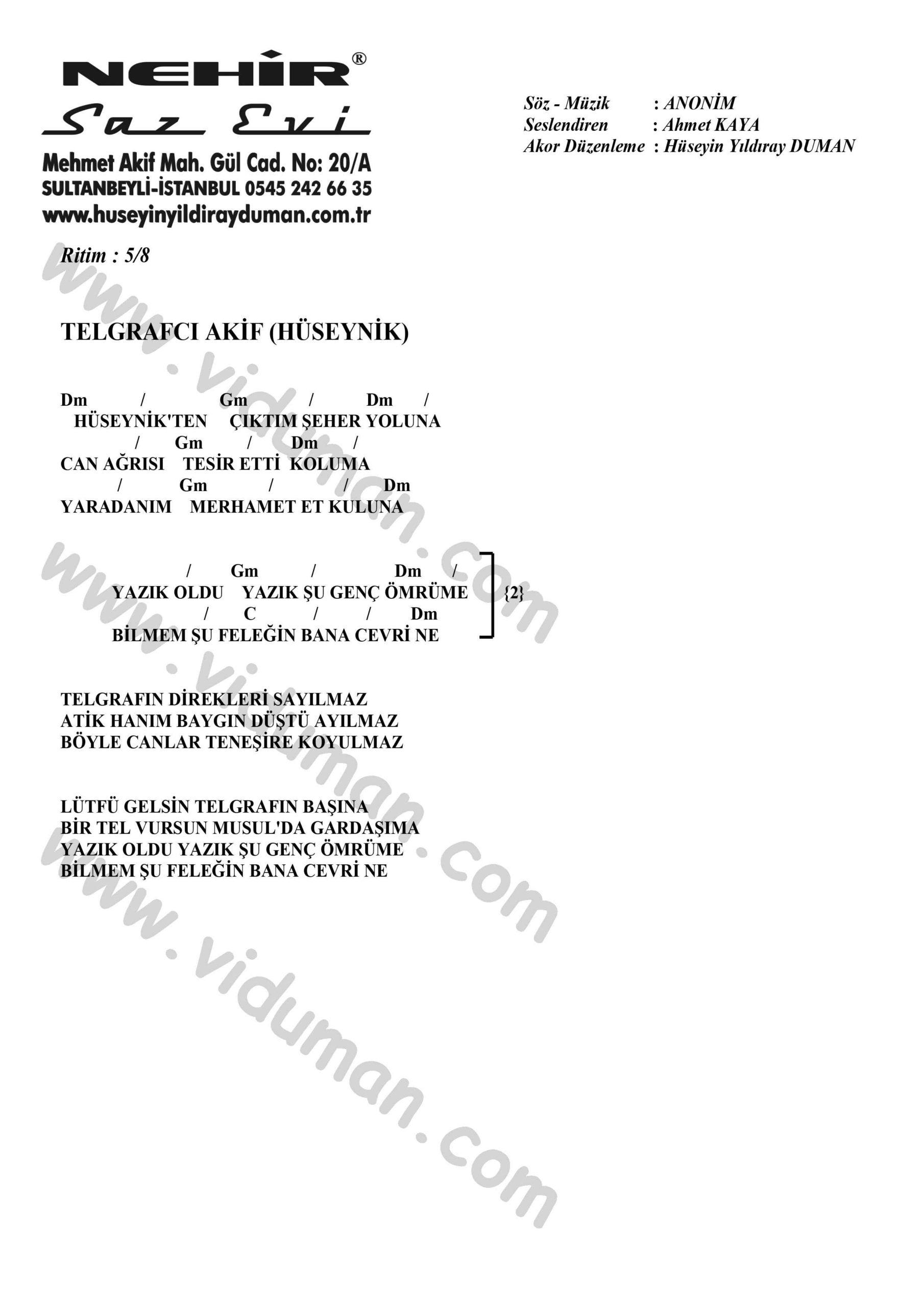 Telgrafci Akif-Ahmet Kaya-Ritim-Gitar-Akorlari