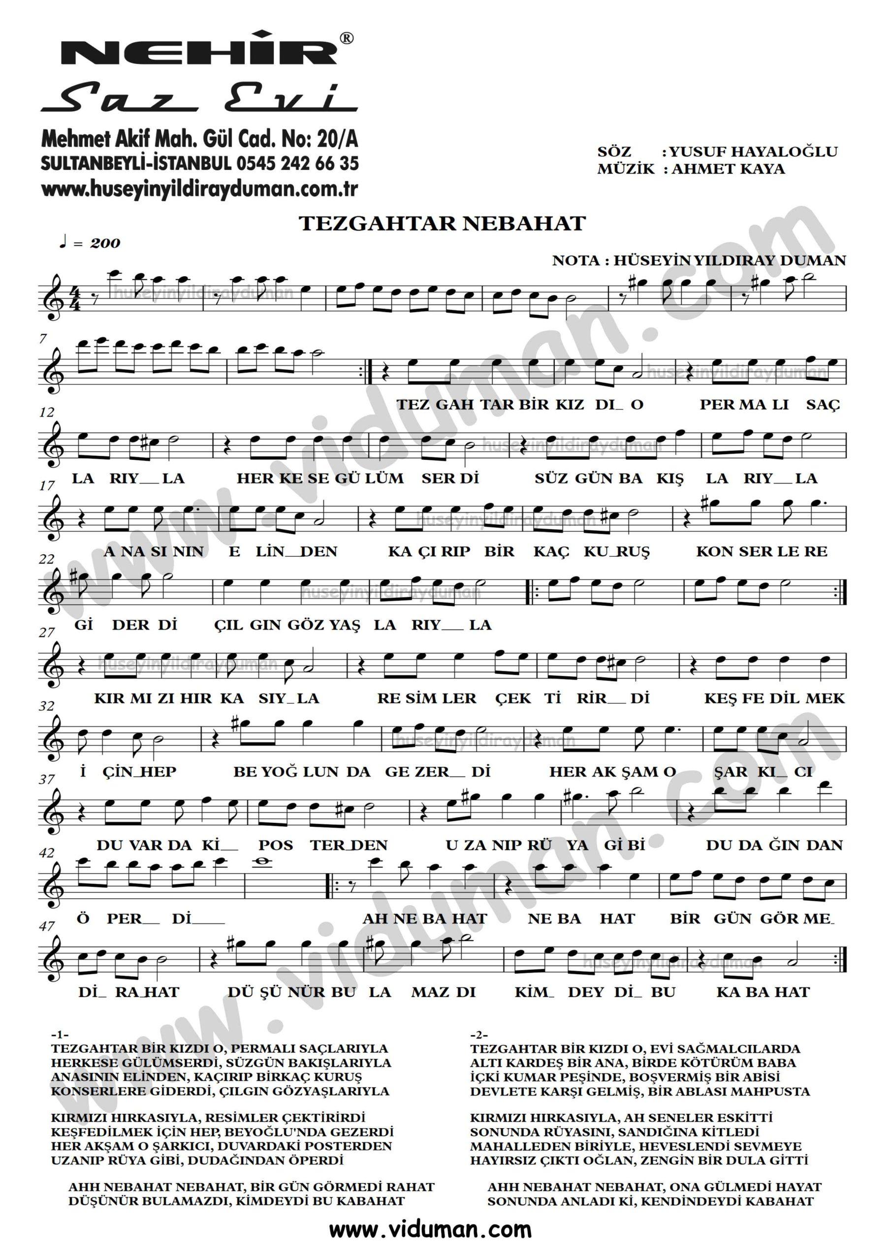 Tezgahtar Nebahat-Ahmet Kaya-Baglama-Saz-Turku-Notalari