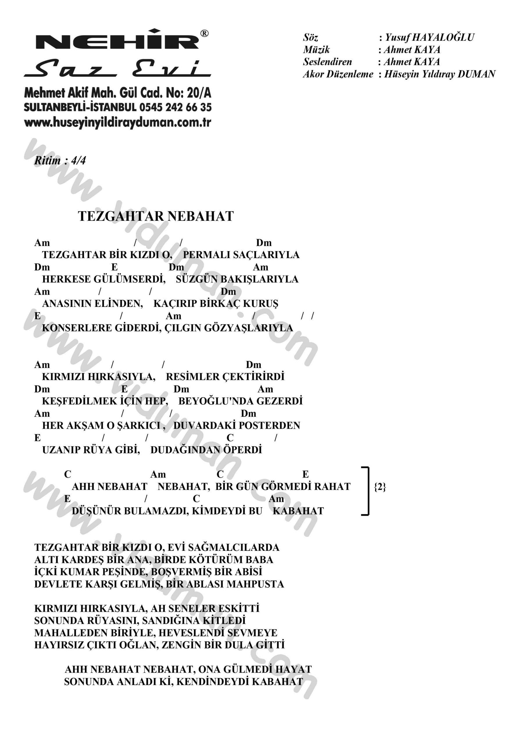 Tezgahtar Nebahat-Ahmet Kaya-Ritim-Gitar-Akorlari
