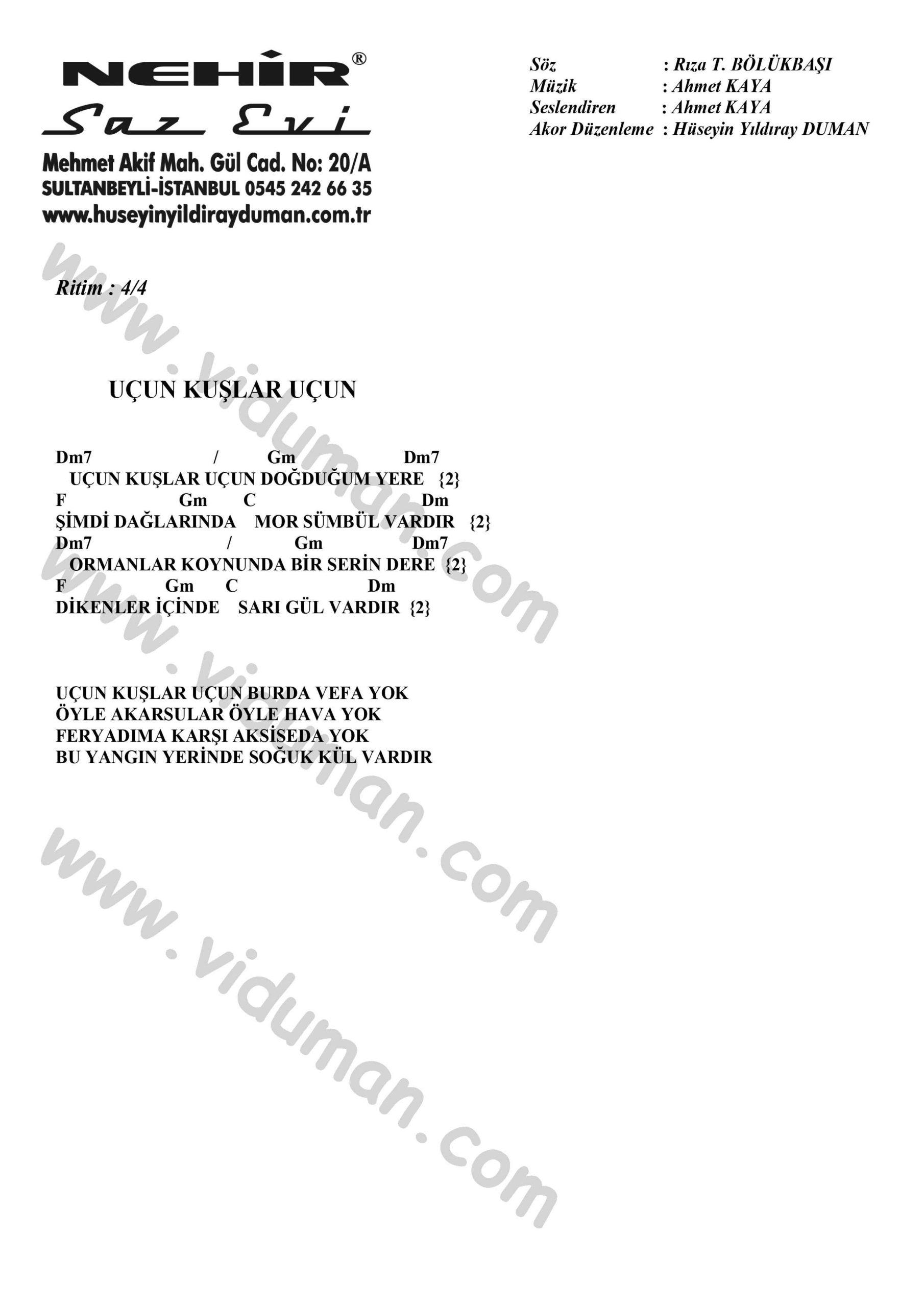 Ucun Kuslar Ucun-Ahmet Kaya-Ritim-Gitar-Akorlari