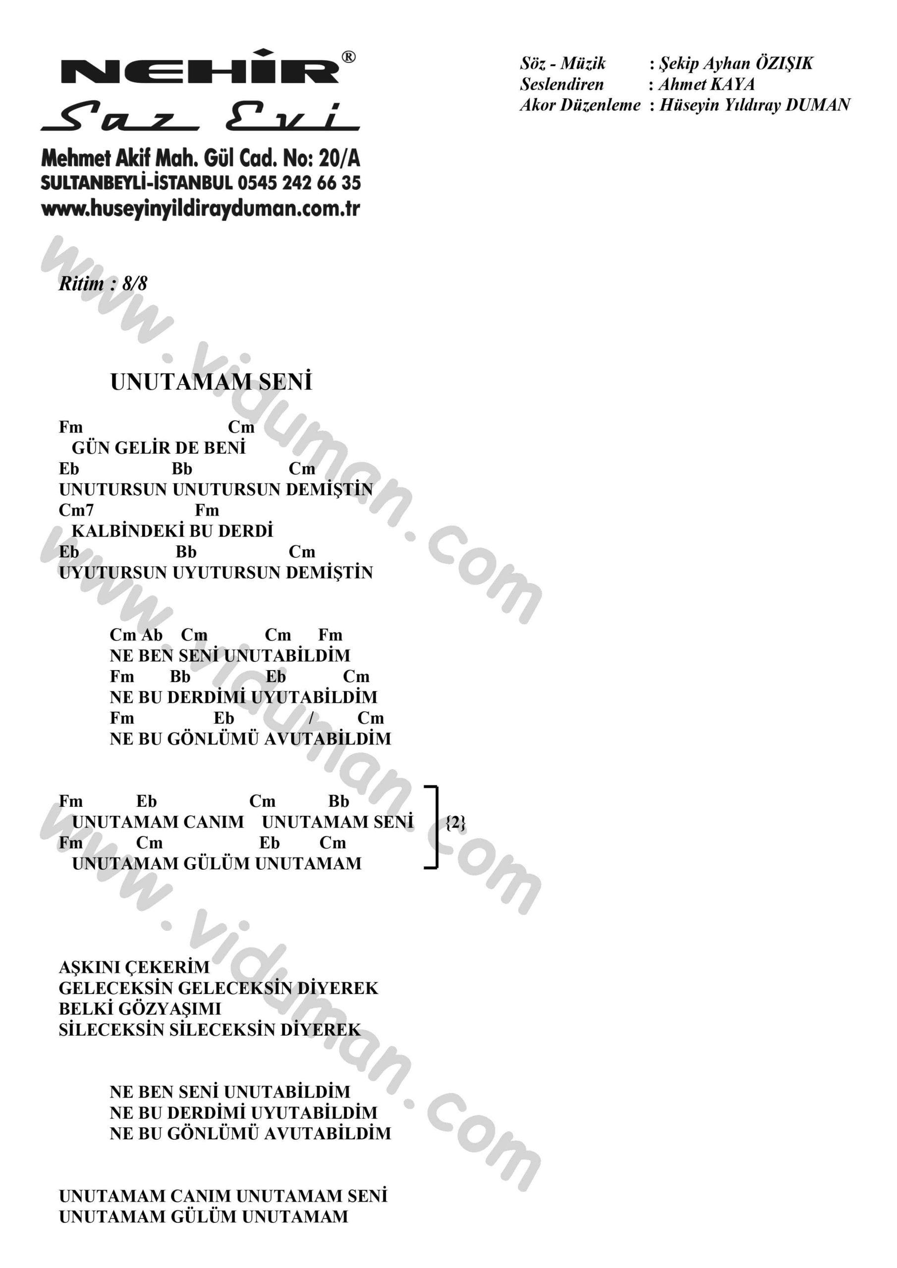 Unutamam Seni-Ahmet Kaya-Ritim-Gitar-Akorlari