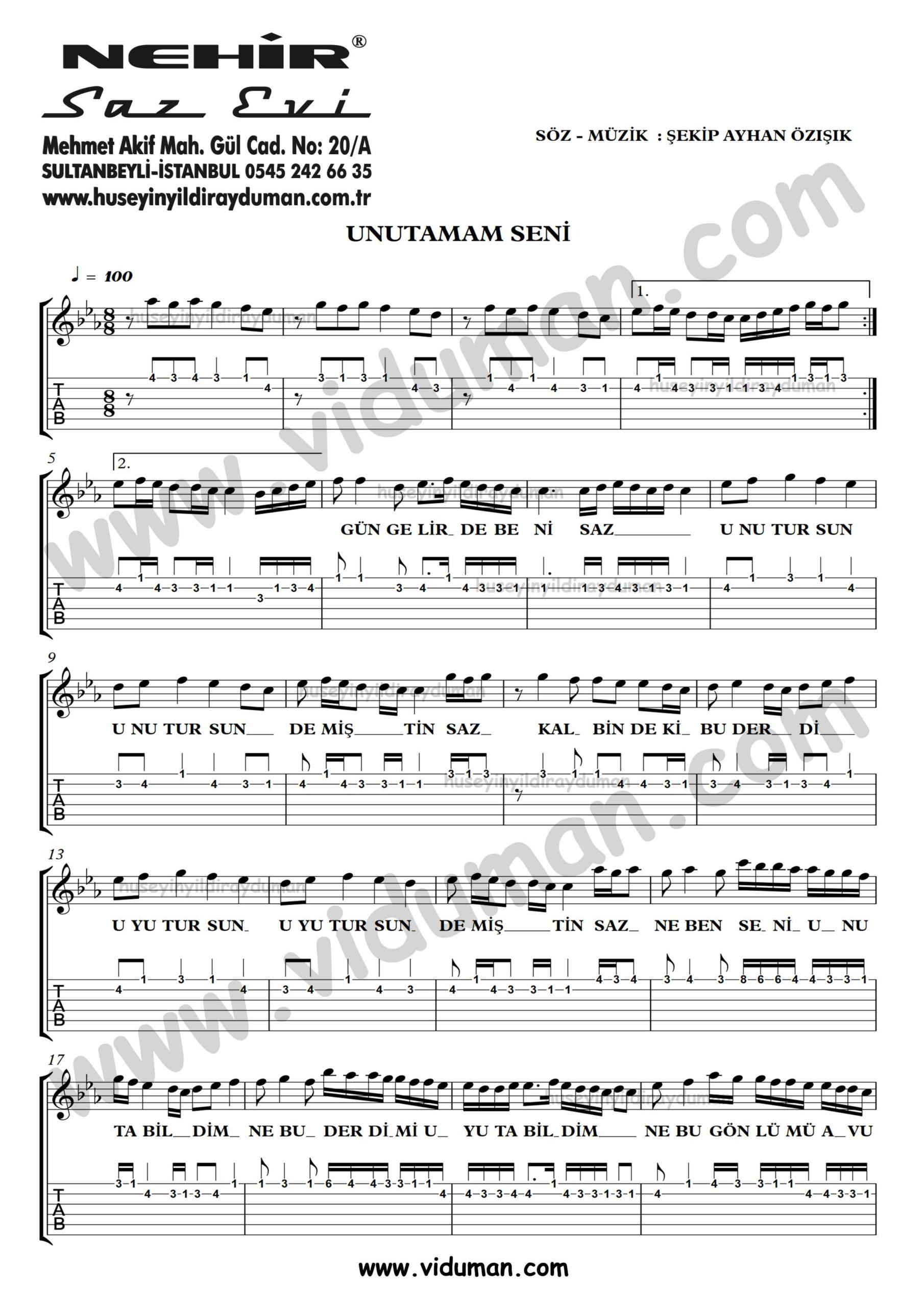 Unutamam Seni_1-Ahmet Kaya-Gitar Tab-Solo Notalari