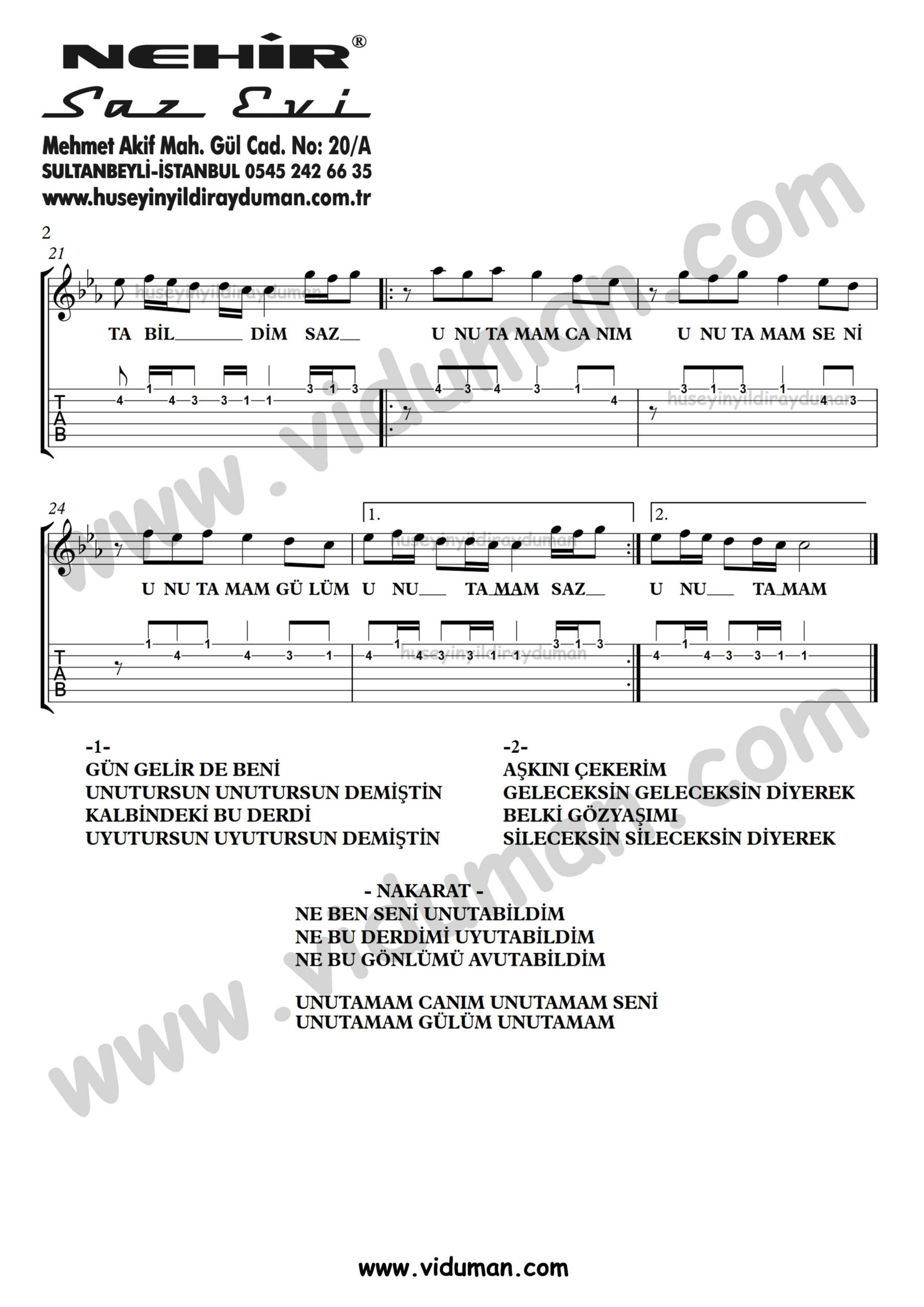 Unutamam Seni_2-Ahmet Kaya-Gitar Tab-Solo Notalari