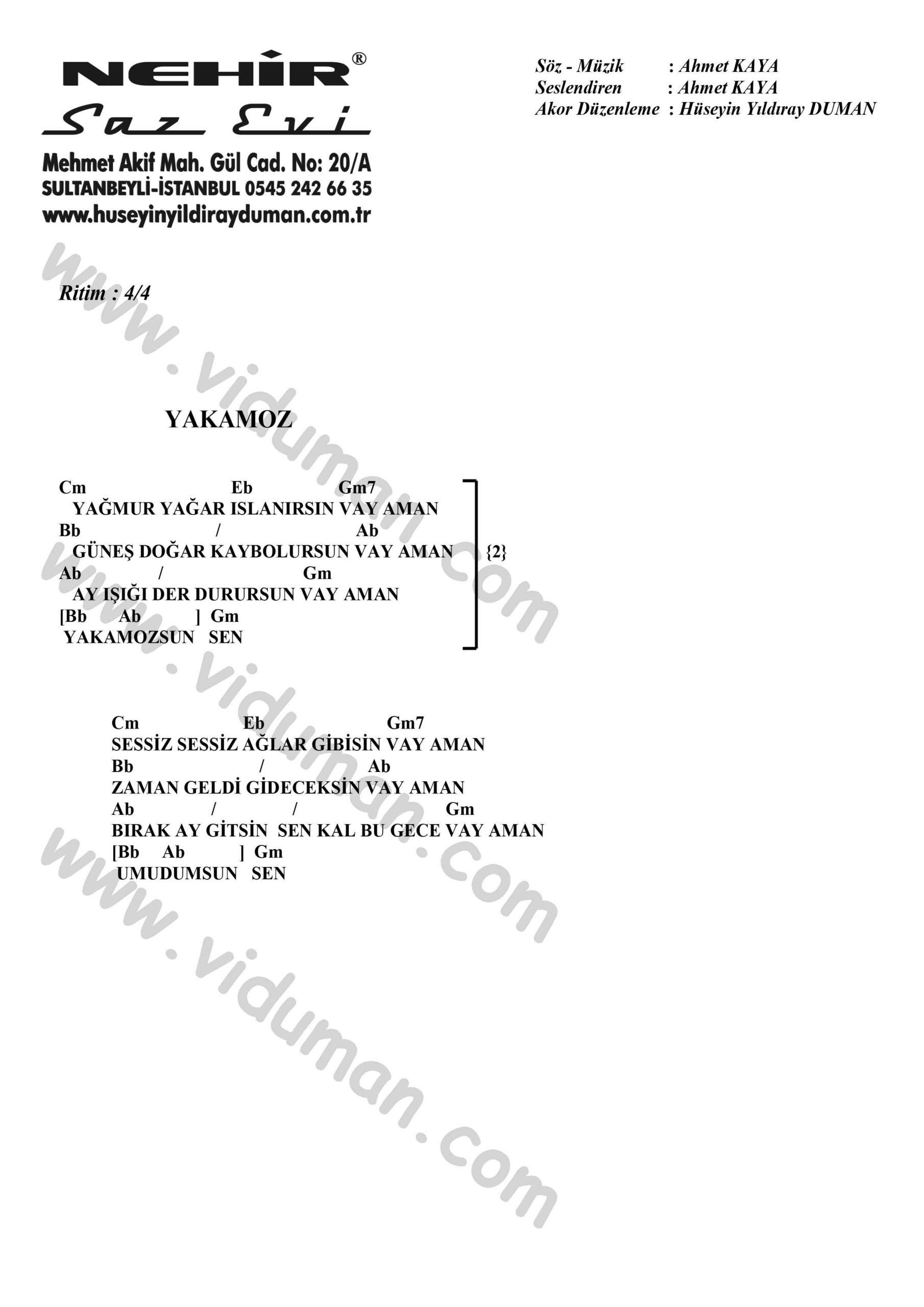 Yakamoz-Ahmet Kaya-Ritim-Gitar-Akorlari