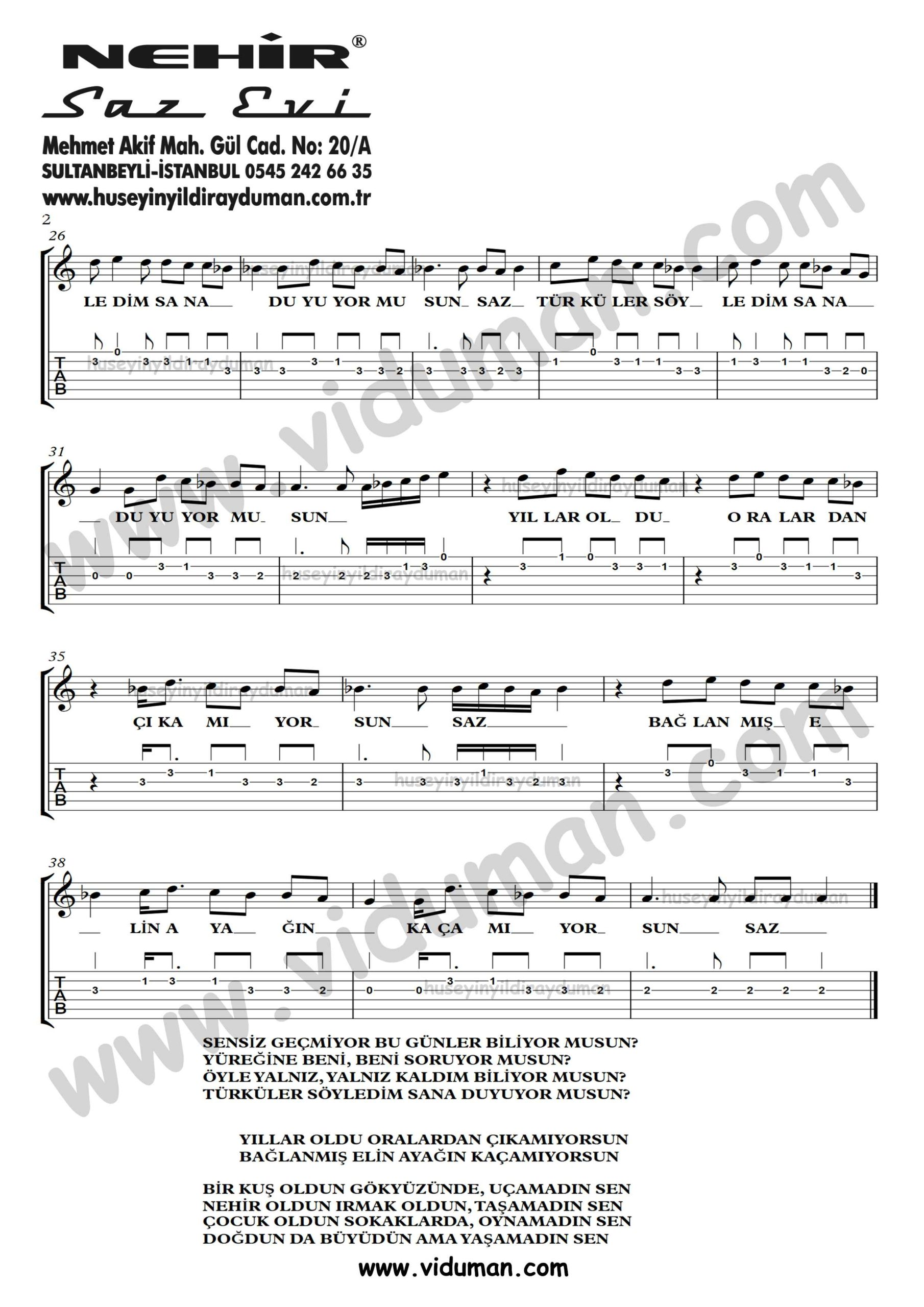 Yasamadin Sen_2-Ahmet Kaya-Gitar Tab-Solo Notalari