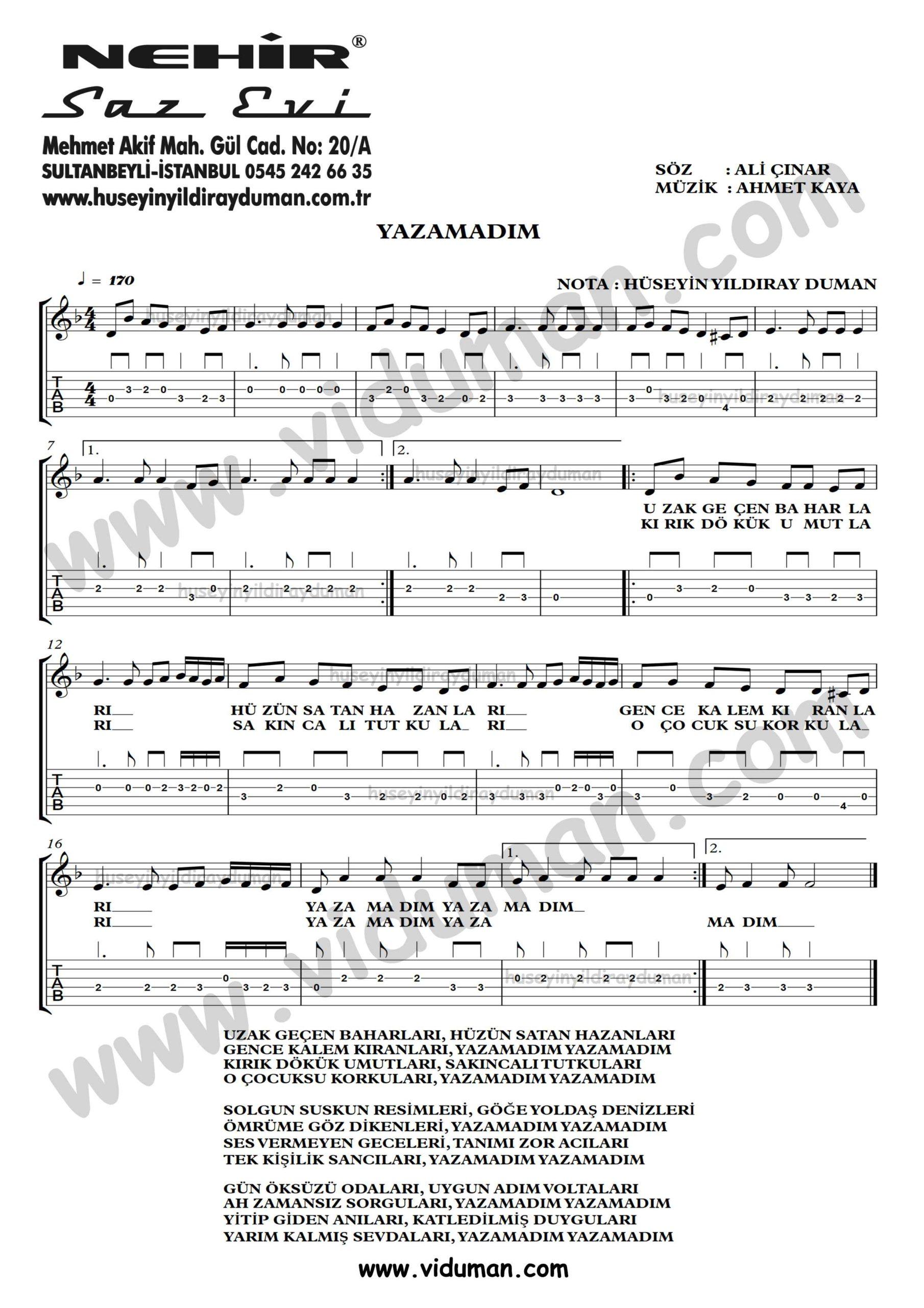 Yazamadim-Ahmet Kaya-Gitar Tab-Solo Notalari