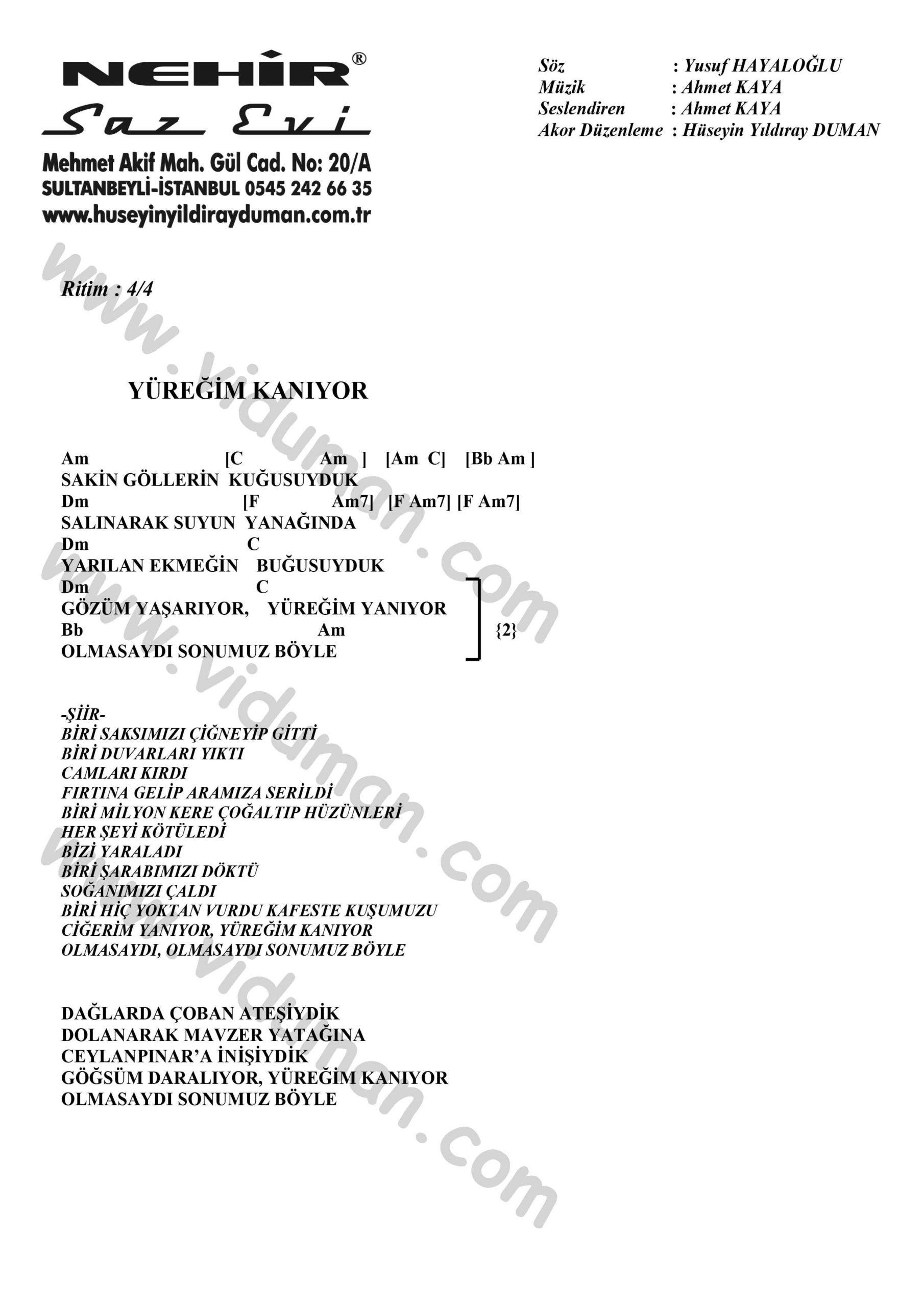 Yuregim Kaniyor-Ahmet Kaya-Ritim-Gitar-Akorlari