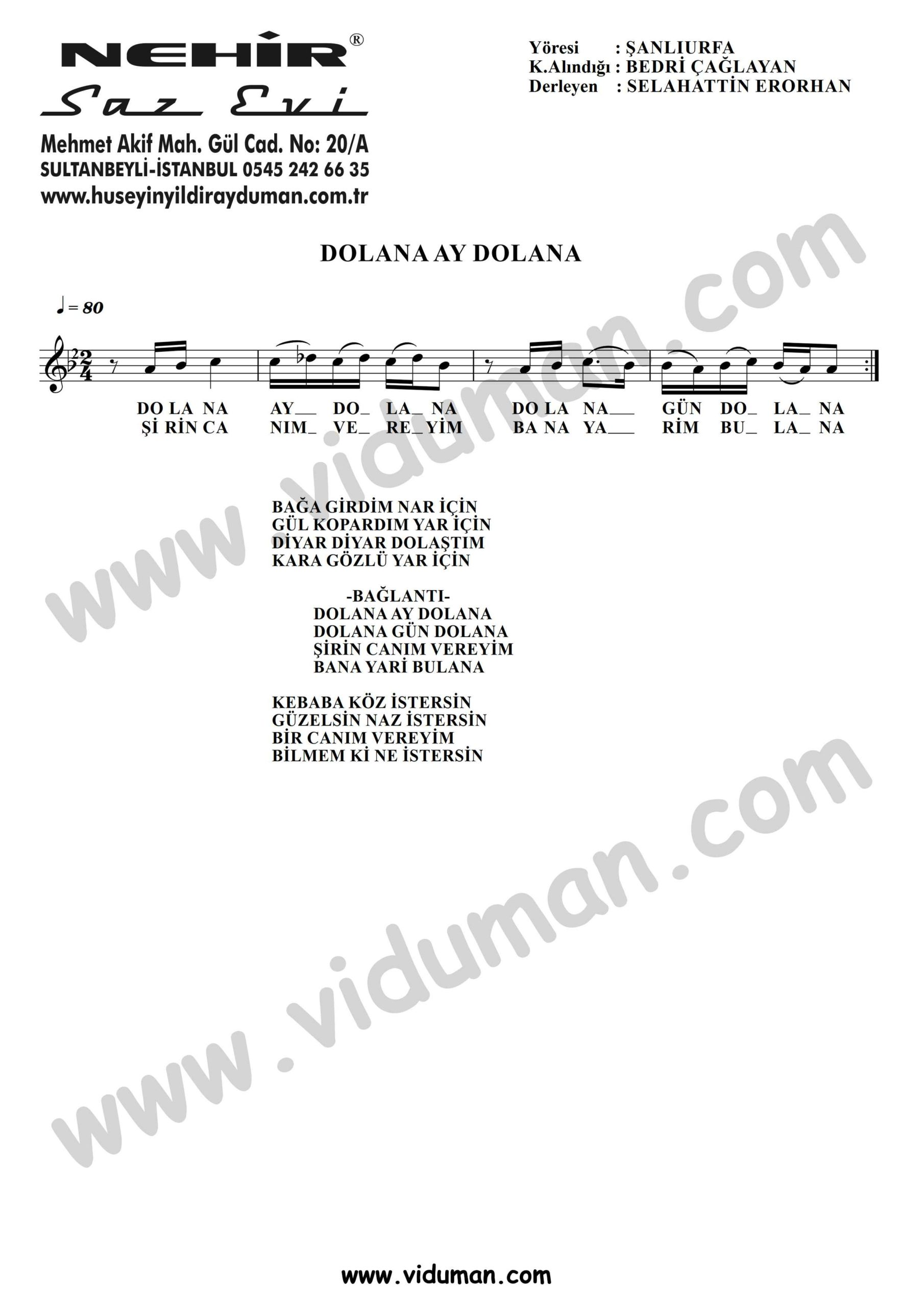 Dolana Ay Dolana-Baglama-Saz-Turku-Notalari