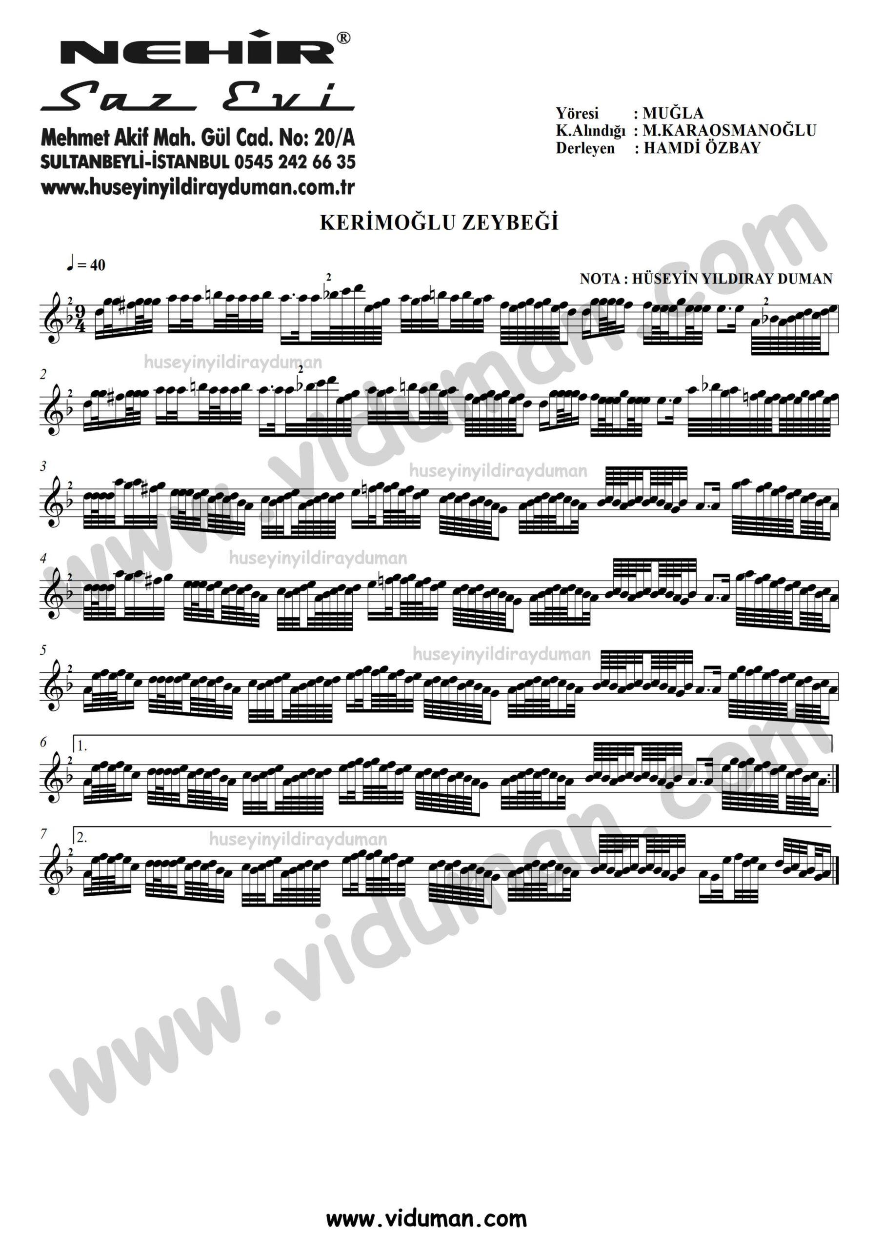 Kerimoglu-Zeybegi-Kisa-Sap-Baglama-Saz-Turku-Notalari